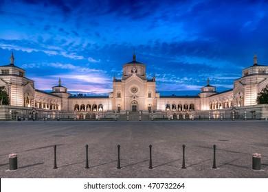 Cimitero Monumentale, monumental graveyard at night Milano, Italy