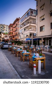 Cinarcik, Turkey - June 24, 2017: Streets and people of a typical Turkish seaside and summer vacation town located in Marmara region of the country