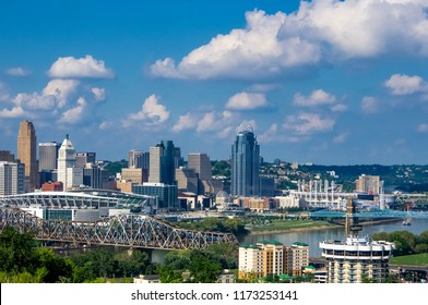 Cincinnati, OH—August 30, 2018; view of cincy skyline and ohio river on summer day from hills of Covington Kentucky