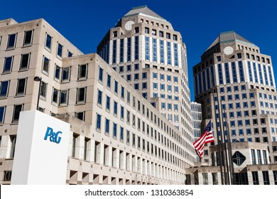 Cincinnati - Circa February 2019: Procter & Gamble Corporate Headquarters with American flag. P&G is a Multinational Consumer Goods Company II