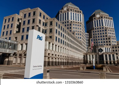 Cincinnati - Circa February 2019: Procter & Gamble Corporate Headquarters with American flag. P&G is a Multinational Consumer Goods Company V