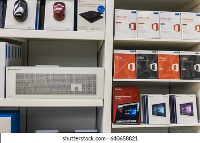 Cincinnati - Circa May 2017: Surface accessories and Office 365 software at a Microsoft Retail Technology Store VII