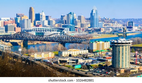 Cincinnati colorful skyline city view downtown with bridges, river front and freeways, looking from Covington Kentucky 2018