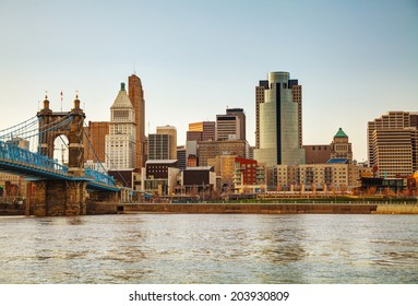 Cincinnati downtown overview in the evening