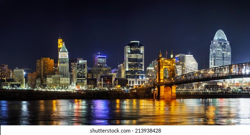 Cincinnati downtown panoramic overview in the night