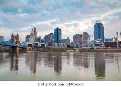 Cincinnati downtown panoramic overview at the sunset