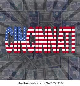 Cincinnati flag text on dollars sunburst illustration