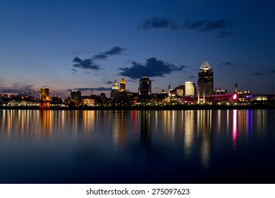 CINCINNATI - MAY 02: Scenic Cincinnati skyline and Ohio river shortly after sunset on May 2, 2015. Cincinnati is the 3rd largest city in Ohio and 65th largest city in the USA.