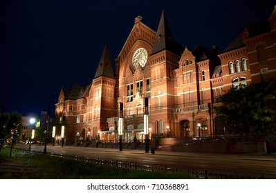 The Cincinnati Music hall spot lighted during the opening night of the spring season