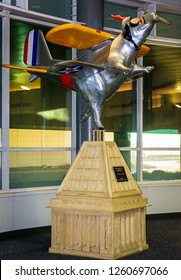 Cincinnati and Northern Kentucky international airport with the statue of Pigcinnati Ohio's History collections. December 17th 2018 USA