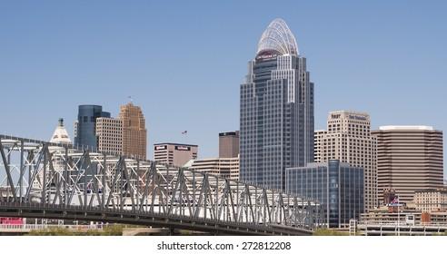 CINCINNATI, OH - APRIL 26: City of Cincinnati seen from Kentucky side on April 26, 2015 in Cincinnati, Ohio.