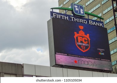 CINCINNATI, OH - MAY 29, 2018: The screen from which fans at Fountain Square watched the announcement of FC Cincinnati's successful MLS expansion bid.