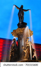Cincinnati, OH, USA April 20 The Tyler Davidson Fountain is a landmark in Cincinnati, Ohio.  The fountain was featured prominently in the opening montage of the TV show WKRP in Cincinnati