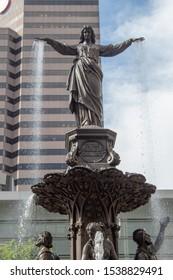 Cincinnati, Oh / USA - April 22, 2019: The Genius of Water statue close-up at Fountain Square in Cincinnati, Oh.