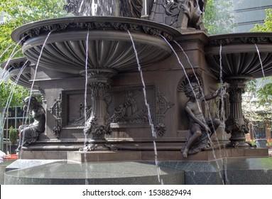 Cincinnati, Oh / USA - April 22, 2019: The bottom portion of the Tyler Davidson Fountain in Cincinnati, Ohio.