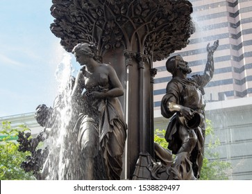Cincinnati, Oh / USA - April 22, 2019: View of the middle section of the fountain in Fountain Square in Cincinnati, Ohio.