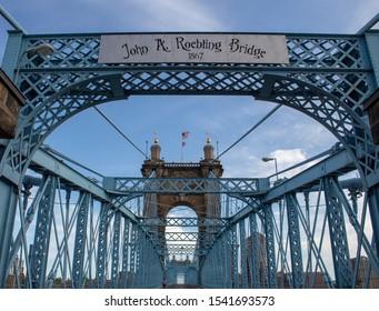 Cincinnati, Oh / USA - April 22, 2019: The John A. Roebling Suspension Bridge connects Cincinnati, Ohio and Covington, Kentucky.
