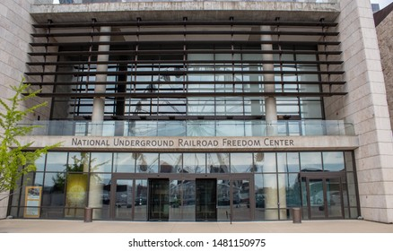 Cincinnati, OH / USA - April 23, 2019: Main entrance of the National Underground Railroad Freedom Center in Cincinnati, Oh.