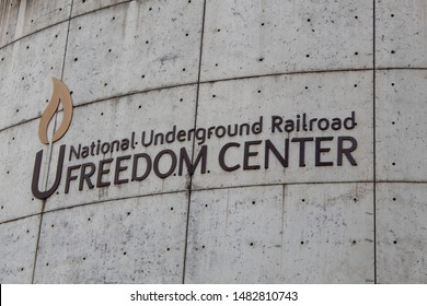 Cincinnati, OH / USA - April 23, 2019: Sign at the National Underground Railroad Freedom Center Building.