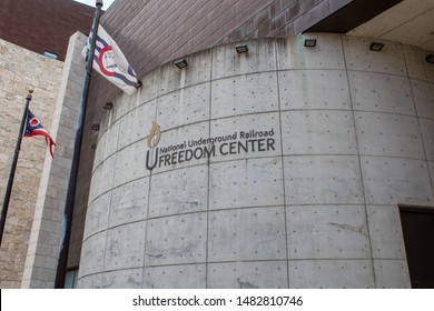Cincinnati, OH / USA - April 23, 2019: The National Underground Railroad Freedom Center.