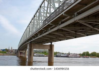 CINCINNATI, OH / USA APRIL 24, 2019: View of the Taylor-Southgate Bridge from below.