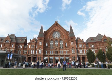 CINCINNATI, OH, USA – OCTOBER 7, 2017: Crowds gather in front of Music Hall, an iconic classical music performance hall in the Over-The-Rhine neighborhood.