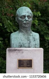 CINCINNATI, OHIO - JULY 6, 2018: Robert Alphonso Taft bust (son of President Taft) at the William Howard Taft National Historic Site in Cincinnati, Ohio