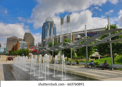 CINCINNATI, OHIO - JUNE 17, 2017:  Smale Riverfront Park is a premier attraction in Cincinnati, OH.  It borders Great American Ballpark.