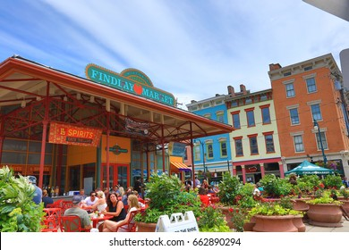 CINCINNATI, OHIO - JUNE 18, 2017:  Findlay Market is a trendy farmer's marketplace in the historic Over the Rhine district in Cincinnati, Ohio.  It attracts hundreds of visitors daily.