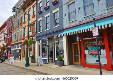 CINCINNATI, OHIO - JUNE 18, 2017:  Findlay Market is a trendy farmer's marketplace in the historic Over the Rhine district in Cincinnati, OH.
