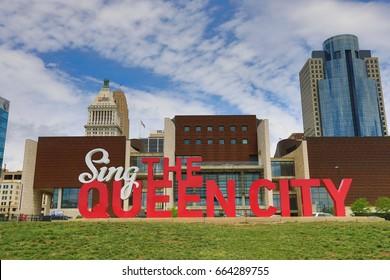 "CINCINNATI, OHIO - JUNE 18, 2017:  ""Sing the Queen city"" is a 3D sculpture that is part of Cincinnati's Artworks urban public art project."