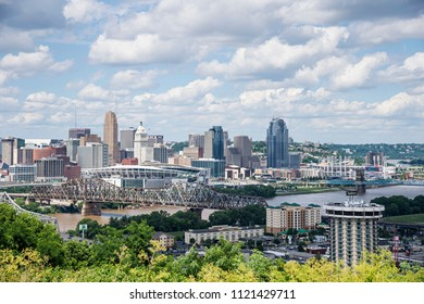 Cincinnati, Ohio - June 24, 2018: View of Cincinnati skyline. Cincinnati is the 3rd largest city in Ohio and 65th largest city in the USA.