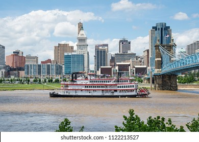 Cincinnati, Ohio - June 24, 2018: Replica steamboat in the Ohio River in Cincinnati. Cincinnati is the 3rd largest city in Ohio and 65th largest city in the USA.