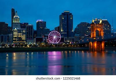 Cincinnati, Ohio -November 4, 2018: Downtown Cincinnati, Ohio with SkyStar - the world's largest portable observation wheel.