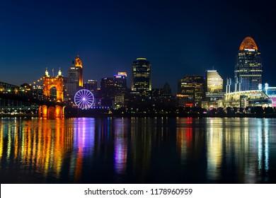 Cincinnati, Ohio - September 13, 2018: Downtown Cincinnati, Ohio with SkyStar - the world's largest portable observation wheel.
