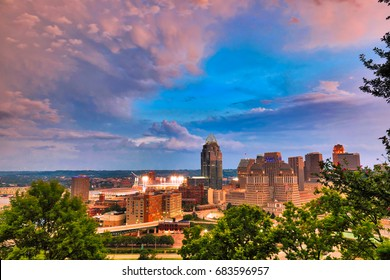 The Cincinnati, Ohio skyline downtown along the Ohio River.