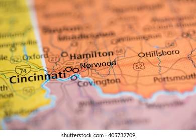 Cincinnati Ohio Usa On Map Stock Photo Edit Now 1068047846