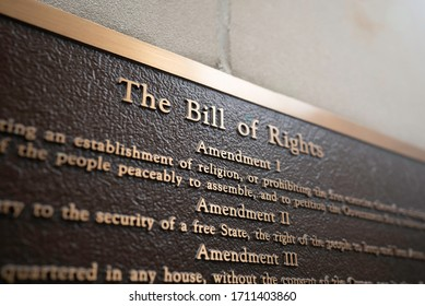 "Cincinnati, Ohio / USA - April 14 2020: Close up of the words, ""The Bill of Rights"" on a metal plaque on the Potter Stewart United States Courthouse building in Downtown Cincinnati."