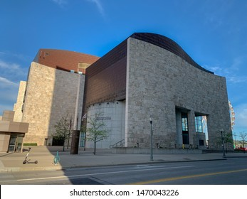 Cincinnati, Ohio / USA - April 22, 2019:  The National Underground Railroad Freedom Center building at the Cincinnati Banks.