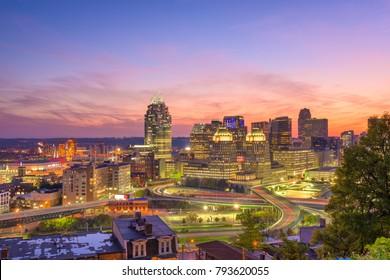 Cincinnati, Ohio, USA cityscape at twilight.