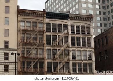 Cincinnati, Ohio, USA, June, 14, 2018: old building with fire escape stairs. June 14, 2018 in Cincinnati, Ohio, USA.