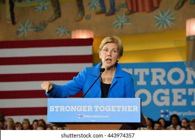 CINCINNATI, OHIO, USA - JUNE 27, 2016: Senator Elizabeth Warren speaks at a Hillary Clinton campaign event at the Museum Center.