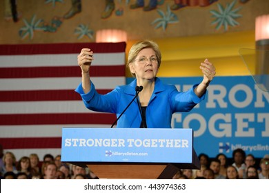 CINCINNATI, OHIO, USA - JUNE 27, 2016: Senator Elizabeth Warren with an open arms gesture during her speech at the Hillary Clinton campaign event at the Museum Center.
