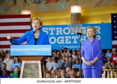 CINCINNATI, OHIO, USA - JUNE 27, 2016: Elizabeth Warren together with Hillary Clinton on stage during a campaign event at the Museum Center.