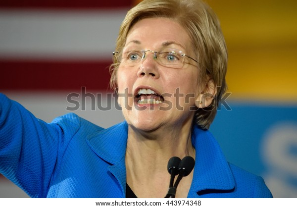 CINCINNATI, OHIO, USA - JUNE 27, 2016: Senator Elizabeth Warren makes an impactful speech at the Hillary Clinton campaign event at the Museum Center.