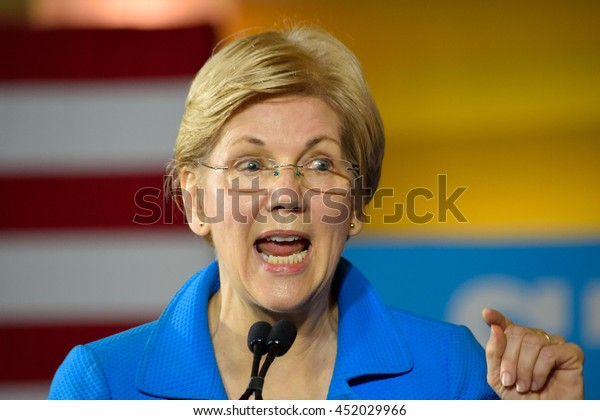 CINCINNATI, OHIO, USA - JUNE 27, 2016: Senator Elizabeth Warren delivers a speech at a campaign rally for the presumptive democratic nominee at the Museum Center.