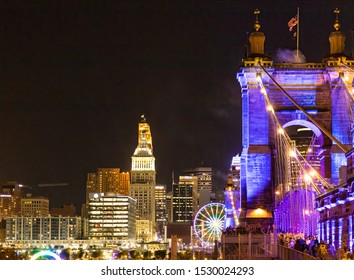 Cincinnati, Ohio USA - October 9, 2019: Lit up Roebling Suspension Bridge as part of the Cincinnati hosted creative Art, Light and Technology Festival Called BLINK