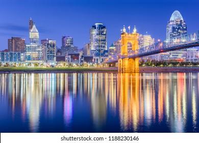 Cincinnati, Ohio, USA skyline on the Ohio River at dusk.