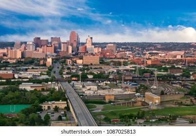 "Cincinnati, Ohio/USA - May 13, 2015: View of the ""Queen City"", Cincinnati Skyline and Surrounding Neighborhoods"