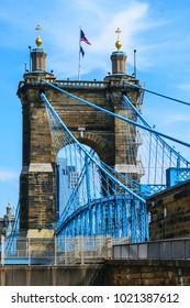 Cincinnati Roebling bridge  crossing from Kentucky to Cincinnati Ohio riverfront. Urban exploration photography 2019